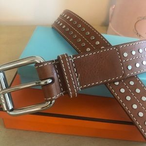 EXPRESS brown leather metal with metal hardware!